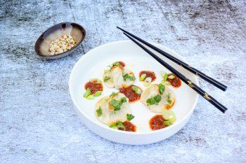 Austernpilz Polenta-Nudl (Mini) mit Chili-Miso-Butter (Vorspeise)